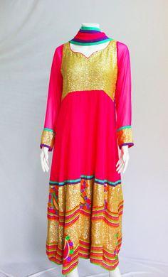 Pink and Gold Anarkali Indian Designer Dress