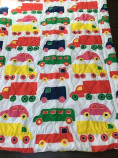 vintage Marimekko Bo Boo cars and trucks twin quilted comforter, child's bedding, Dan River 1970s by MotherMuse on Etsy