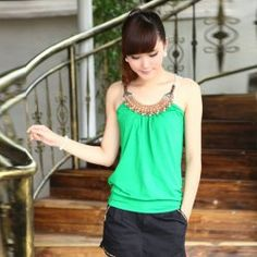 $7.54 Fashion and Mix-Matched Style Retro Beads Embellished Halter Design Rayon Women's Vest