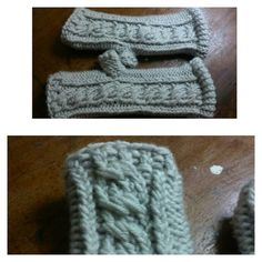 Loom knitted cabled fingerless mittens by @raquelfunside