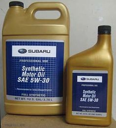 gallon and quart container Subaru synthetic oil, new July 2010