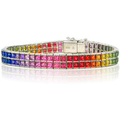 LGBT Pride Rainbow Sapphire Bracelet Sterling Silver, Unisex Natural... ($3,370) ❤ liked on Polyvore featuring jewelry, bracelets, gemstone jewellery, sterling silver bangles, sterling silver jewelry, unisex jewelry and sterling silver jewellery