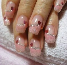 Romantic Heart Nail Art Designs – For Creative Juice Romantic Heart Nail Art Designs – For Creative Juice,nails Pink Glitter French Tips Nail Design with Hearts. Frensh Nails, Pink Gel Nails, Fancy Nails, Cute Nails, Pretty Nails, Pretty Toes, Acrylic Nails, Fingernail Designs, Gel Nail Designs