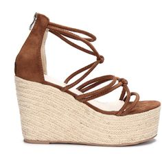 Yoins Brown Suede Look Cross Straps Wedge Sandals ($54) ❤ liked on Polyvore featuring shoes, sandals, wedges, yoins, brown, wedge shoes, platform sandals, cross strap sandals, platform shoes and suede platform sandals