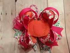 """4.5"""" Pumpkin stacked bow"""
