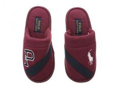 Polo Ralph Lauren Kids Rugby P Scuff (Little Kid) (Maroon Fleece/Navy/White Pony) Kid's Shoes