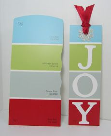 """I made this really simple """"JOY Bookmark"""" using a paint chip from Sherman Williams. I love the color combo. For the """"JOY"""" letters I used ..."""
