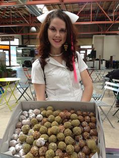 Our nurses deliver to corporate events!  Here's Nurse Anna at a San Jose event, with a box of Mixed Psycho Ballz!