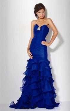 Fancy Mermaid Organza Sleeveless Sweep Train Strapless Prom Dresses - Formal Dresses