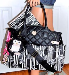98da2bb4eb1b Betsey Johnson Black Floral Diamond Quilt Diaper Baby Bag Weekender Tote NWT