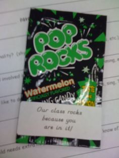 """Candy Theme~Our class rocks because you are in it! poprocks at """"Meet the Teacher Night"""" First Grade Classroom, Classroom Themes, Classroom Activities, 1st Day Of School, Beginning Of The School Year, Student Gifts, Teacher Gifts, Rock Star Theme, School Hallways"""