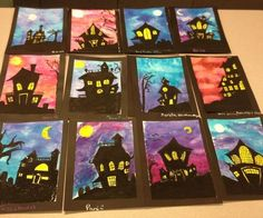 HALLOWEEN ART LESSON- Spooky Houses in Watercolor & Oil Pastel. Here's a great Halloween art lesson for any grade level. These Spooky Houses can be easily adapted for grade and up. Halloween Kunst, Halloween Art Projects, Theme Halloween, Halloween Arts And Crafts, Fall Art Projects, School Art Projects, Art School, Halloween Painting, Middle School Art