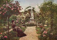 1907 - La roseraie de l'Hay, le rond-point de la Baigneuse (autochrome - procédé Lumière)