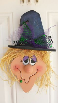 Cute halloween wood craft Witch face