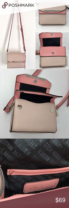 356dfbd4df Steve Madden Crossbody Bag Pink Leather Purse Exclusive Steve Madden  Crossbody Bag Light Pink Leather Silver Hardwares Double Snap Opening  Compartments ...