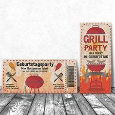 Einladungskarten - Einladung Geburtstag Karte Grill Party Gartenparty - ein Designerstück von eigenbaudesign bei DaWanda