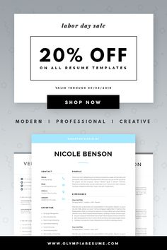 Cover Letter Sign Off Adorable Resume Template  1 And 2 Page Resume  Modern Cv Template For Word .