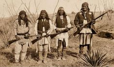 """Was Geronimo a Terrorist?In 1886, Tombstone photographer C.S. Fly accompanied Gen. George Crook to Cañon de los Embudos in Sonora, Mexico, and took a series of photographs of Geronimo and his warriors before the surrender. These rank among the greatest  history photographs ever made. Shown here are (from left) Yahnozha, Chappo, Fun and Geronimo.  After 9/11 the image was used on t-shirts and posters proclaiming """"Homeland Security: Fighting Terrorism Since 1492.""""– Courtesy Robert G. McCubbin…"""