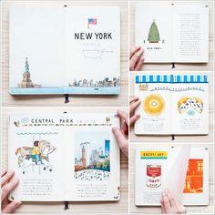 The travel books of illustrator Yoshie Kondo - Ninth Ce Sketch Journal, Journal Covers, Journal Pages, Journal Diary, Bullet Journal Travel, Illustrator, Travel Sketchbook, Travel Scrapbook, Bullet Journal Inspiration