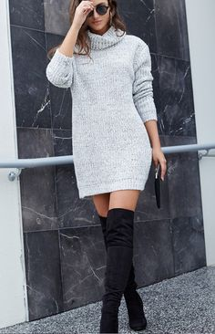 The Helsinki Knit Dress has got us dreaming of European winters! Made from a heavy-weight, grey marle knit fabric, this jumper features a large roll neck, a v-shaped cut out at the back and a long, loose-fitted body. Try your best to wrap up warm, the only way we know how...in the babein' Helsinki Knit Dress! Style her with knee-high boots and a fedora, or over white skinny jeans, for a totally gorge day look, you'll wanna be jetting off in no time in! FABRICATION: 65% Cotton 35% Polyester…