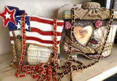 Two Mary Frances Vintage Handbags; Flag Lady Liberty; Shoe Fan Hat **RARE***  #MaryFrances #ShoulderBag Mary Frances Handbags, Vintage Handbags, Liberty, Flag, Shoe, Shoulder Bag, Purses, Best Deals, Hats