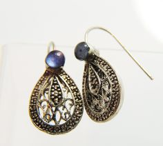 Sterling Silver Blue Glass Filigree Dangle Earrings Antique by EstateHeirlooms on Etsy