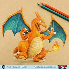 Excellent Color Pencil Drawings by Julianna Maston Pencil Drawings, Art Drawings, Pokemon Charizard, Pikachu Pikachu, Pokemon Sketch, Geek Art, Cartoon Art, Colored Pencils, Art Projects