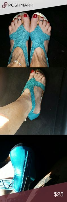 Sandals Beautiful teal sandal with gold plate accents and zipper on back easy on and off casual comfortable and can be worn which shorts or throw it together with a beautiful sundress and one of my beautiful necklaces and you're ready to hit the Town Las Vegas as a matter of fact I'll do a bundle on this one I'll give you a necklace or bracelet a dress and the shoes but you have to bundle that package should I put together or you can just buy the shoes by there self 2 lips too Shoes Sandals