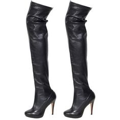 Preowned Balmain Black Stretch Leather Thigh High Boots