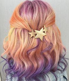 Star gazing✨ - New Pravana Vivids Crystals in Garnet, Purple tourmaline, Rose Quartz, Sunstone and Yellow. Cool Hair Color, Hair Colors, Colours, Coloured Hair, Dye My Hair, Rainbow Hair, Rainbow Outfit, Pastel Hair, Mermaid Hair