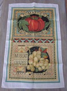 Muscat Grapes Tomatoes Tea Dish Towel Metropolitan Museum Art Irish Linen Garden