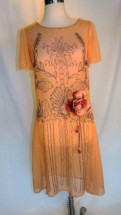 True Vintage 1920's Peach Chiffon Beaded Dress Sea Life Design Flapper Gatsby