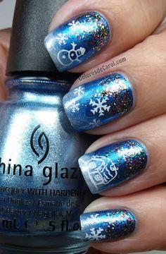 China Glaze Blue Bells Ring and Glitter All The Way- cute christmas nails! Snow Nails, Xmas Nails, Holiday Nails, Winter Nails, Nails 2015, Seasonal Nails, Party Nails, Nail Polish Art, Fabulous Nails