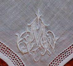 Em's Heart Antique Linens -Antique Monogram Hanky