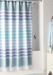 Blue striped shower curtain