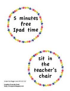 Classroom reward circle labels