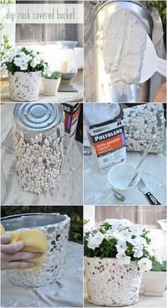DIY Rock Covered Bucket....or this for fountain, maybe with GITD paint grout?