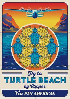 Turtle Beach Vintage Poster  Geometric Art by Henk Wyniger