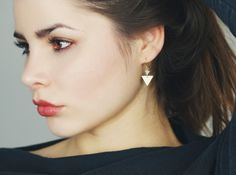 handmade aventurine triangle earrings