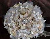 Wedding Bridal Paper Bouquet Green with Plaid by CasaAraiza