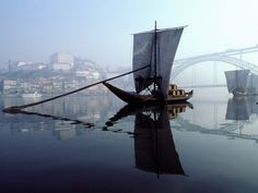 Rabelo boat- Portugal. Traditional Port wine transportation downstream.