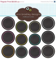 50 OFF SALE Chalkboard Circles Clipart Clip by ErinBradleyDesigns, $2.50