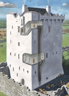The garderobes or toilets within a late medieval Irish Tower house castle