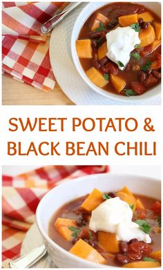 This sweet potato and black bean chili is a hearty vegetarian option perfect for a simple slow cooker dinner and easily frozen another busy weeknight meal. Chili Recipes, Slow Cooker Recipes, Crockpot Recipes, Soup Recipes, Cooking Recipes, Freezer Cooking, Freezer Meals, Healthy Soup, Healthy Dinner Recipes