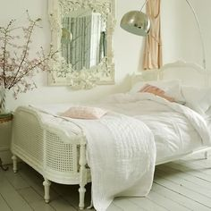 gorgeous bed frame and mirror