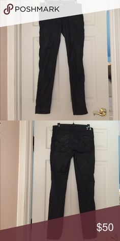 Hudson COLLON Wax Black Shiny Jeans Size 28 wax shiny pretty jeans just purchased from Nordstrom worn once like new. Hudson Jeans Pants Straight Leg