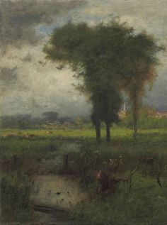 George Inness (American, 1825-1894), Summer, Montclair, 1887. Oil on canvas, 38 x 28½ in. #landscape #tree #art