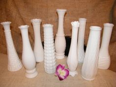 Have 2 of the tallest one in the middle and most of others too. Chic Wedding, Wedding Ideas, Milk Glass Vase, Flower Vases, Happy Shopping, Vintage Inspired, Middle, Collections, Inspiration