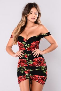 Cascabel Rose Mini Dress - Black