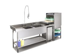 Pot wash sink and commercial dishwasher combination suitable for small commercial kitchens